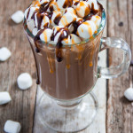 Quick and Easy Hot Cocoa with Mashmallows, Caramel and Chocolate Sauce