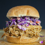 Slow Cooker Pulled Pork Sandwich with Purple Slaw